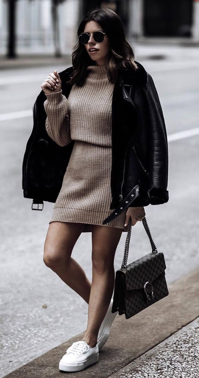 ootd_beige sweater dress + black leather jacket + bag + sneakers
