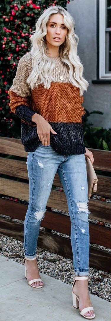gray, brown, and black striped sweater and blue distressed jeans #spring #outfits