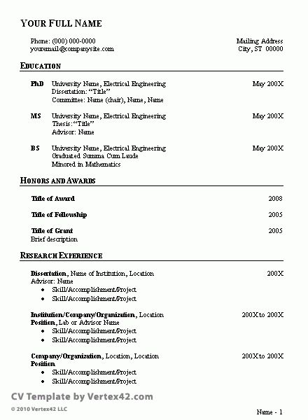 how to write a vitae resume