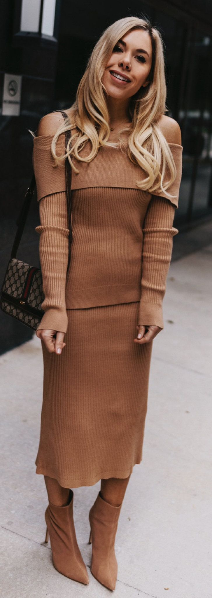 brown knit off-shoulder long-sleeved dress