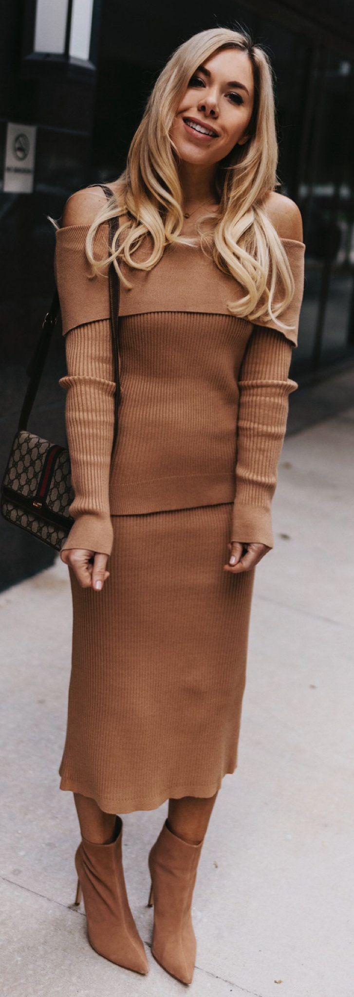 brown knit off-shoulder long-sleeved dress