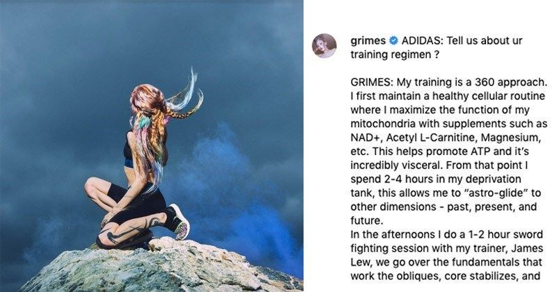 Grimes is already known for being weird as hell, but this little stunt might be the icing on the cake! #Grimes #Music #MusicArtists #Adidas #Health #Exercise #WTF