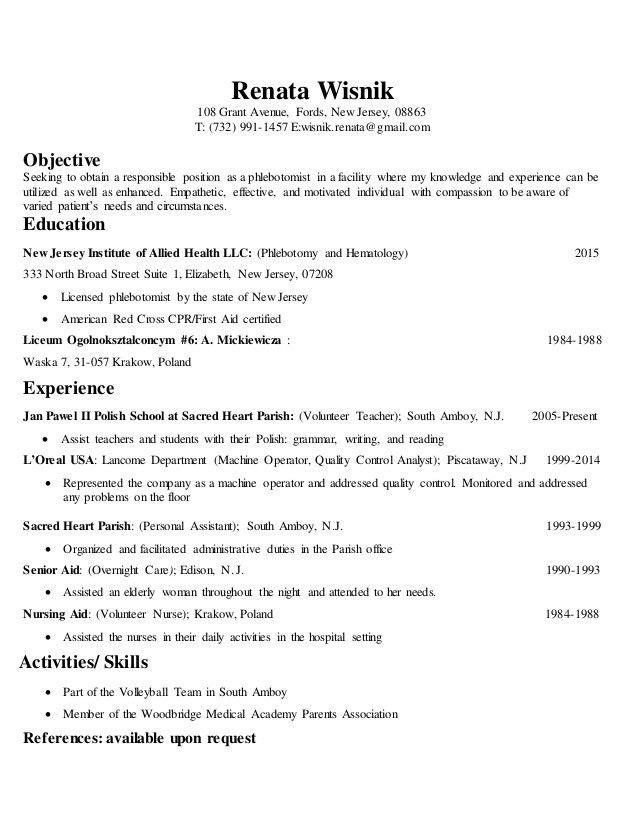 phlebotomist resume sample phlebotomy resume cover letter example