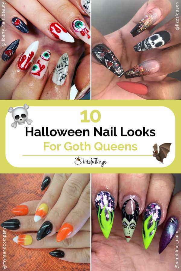 10 Halloween Nail Looks For Goth Queens: Here are the spooky nails you need to try this Halloween. #nailart #naildesign #halloween #halloweennaildesigns #halloweennaildesignpictures
