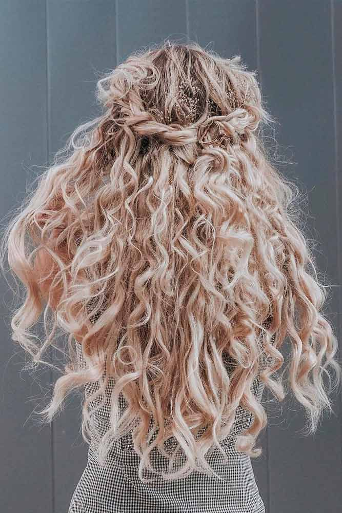 Half Updo With Loose Curls #curlyhair #halfuphairstyles ★ Explore trendy long haircuts with layers for women. We have ideas for wavy, straight, thin and for thick hair. #glaminati #lifestyle #longhaircuts