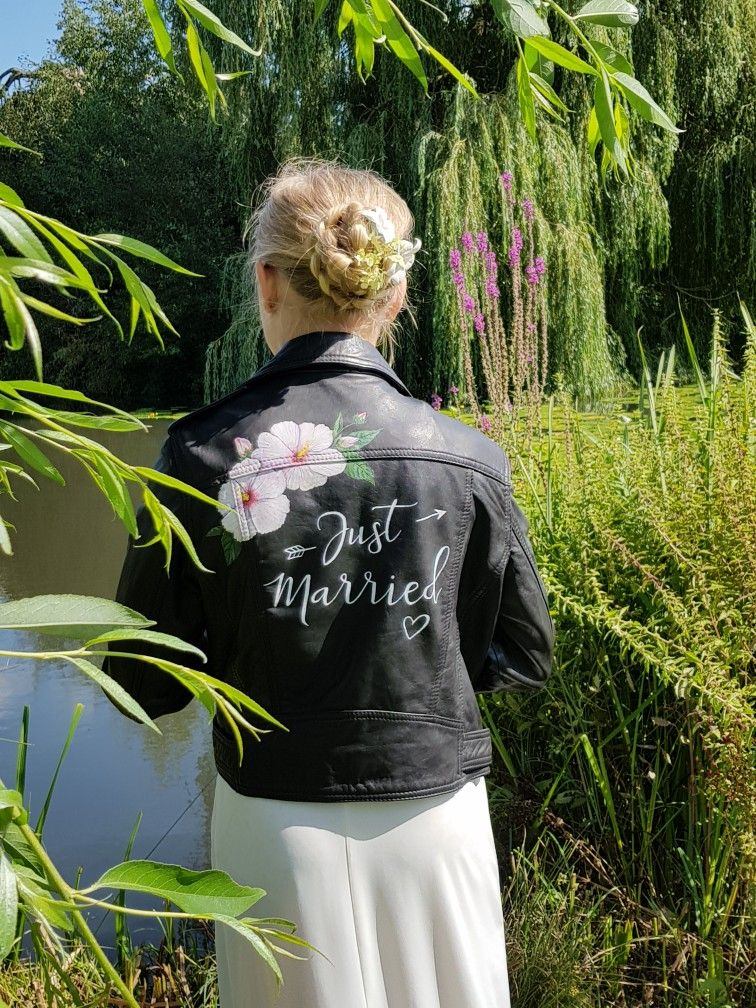 AIM your WEDDING leather jacket. Painted by hand with Just