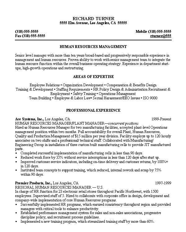 Hr Resume Examples Hr Resume Example Sample Human Resources