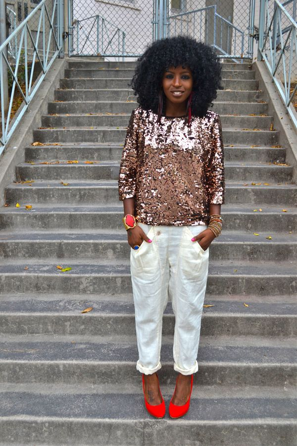 Rose Gold Sequin Blouse + Drop Crotch Pants