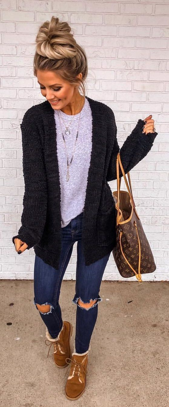 black cardigan #winter #outfits