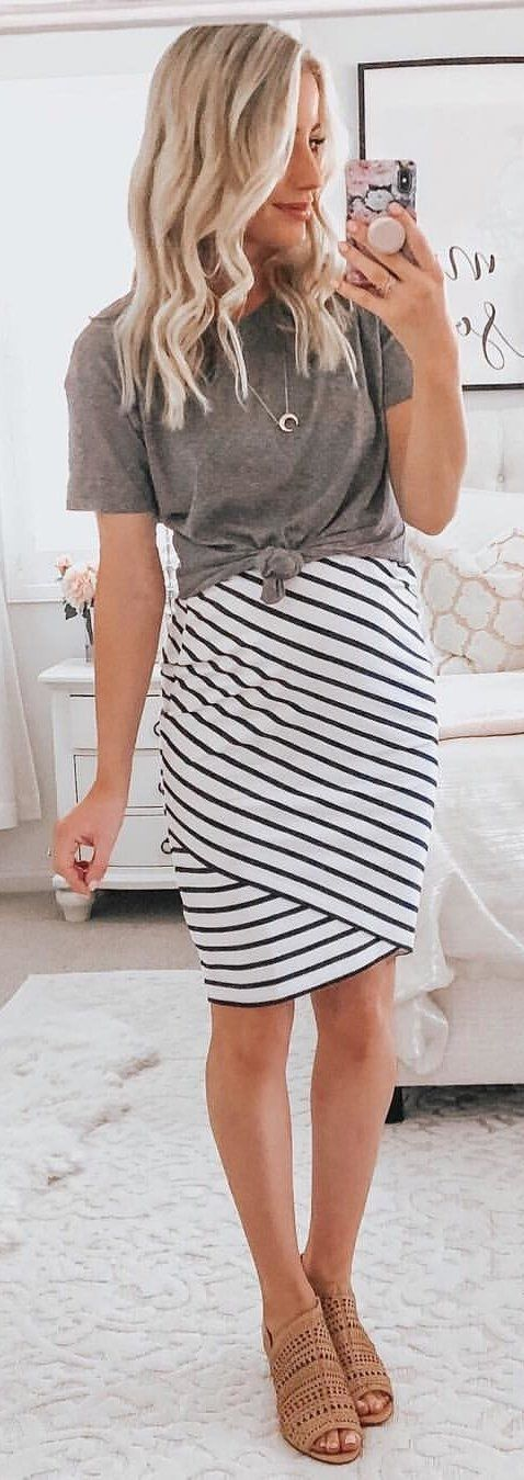 white and black stripe sleeveless dress #winter #outfits