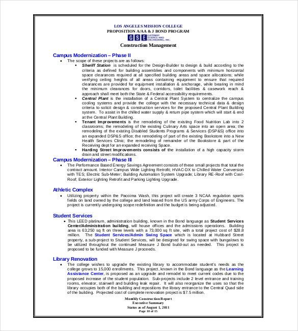 Construction Project Report Format Free Construction Project - sample project report