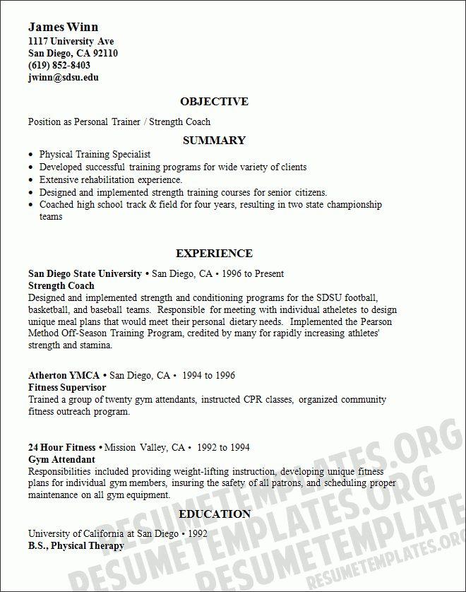 Fitness instructor resume sample