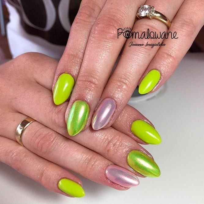 Juicy Lime Green Nail Design  #holonails #almondnails ★ Which summer nail colors do you prefer, bright or more neutral? Explore trendy nail designs for the summertime 2018.  #glaminati #lifestyle #summernailcolors