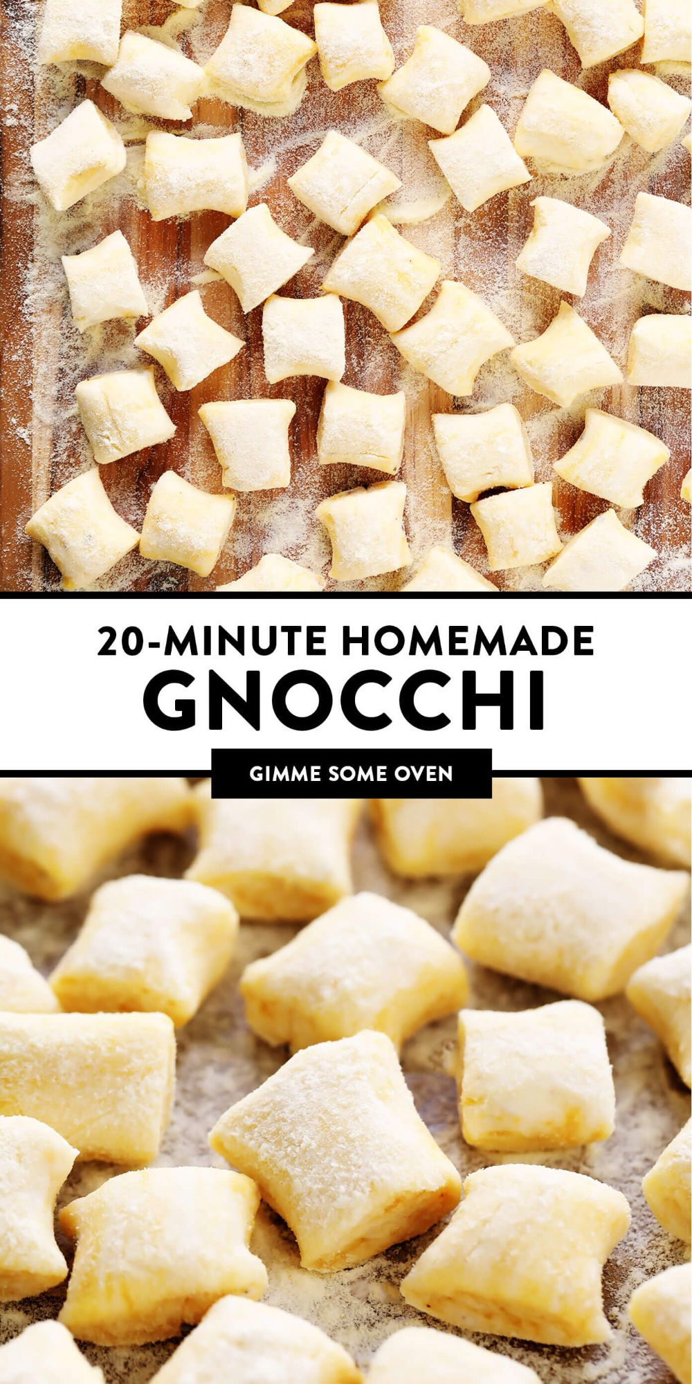LOVE this 20-minute ricotta gnocchi recipe! It's super quick and easy to make with just 4 ingredients, and perfectly light and pillowy and delicious. Pair them with any favorite Italian sauce, add them to a soup, toast them in some butter, or whatever else might sound good. | gimmesomeoven.com #gnocchi #italian #dinner #pasta #easy #mealprep #freezermeals