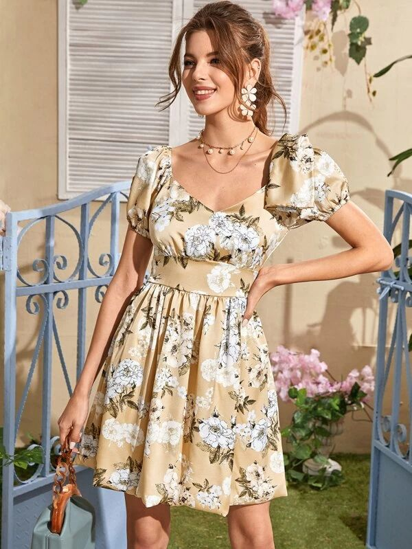 Floral Print Sweetheart Neck Satin Dress