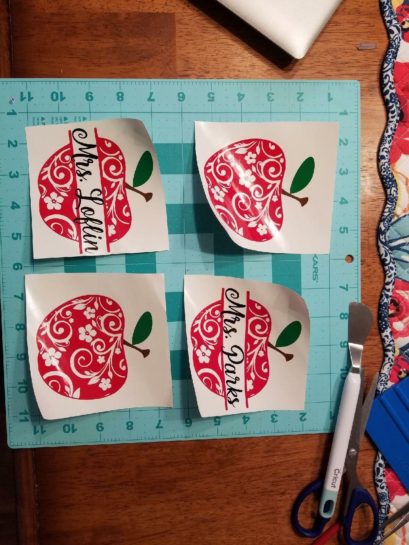 Flourish apples teacher gift cups personalized vinyl