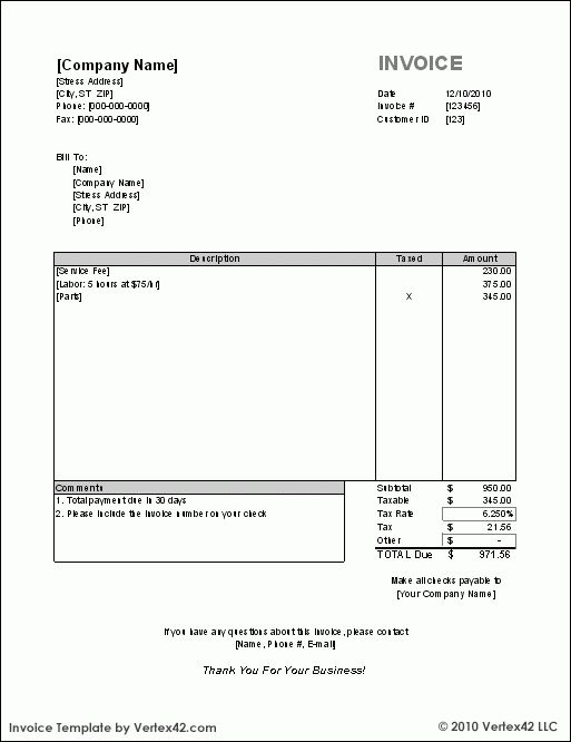 Format Invoice Free Invoice Templates For Word Excel Open Office - free invoice form template