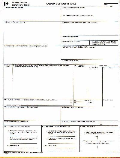 Custom Invoice Format Canada Customs Invoice Customs Commercial - custom invoice format