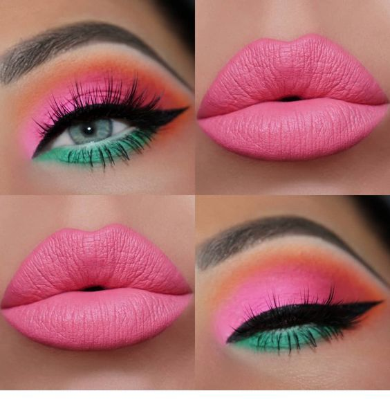 Pink and mint makeup