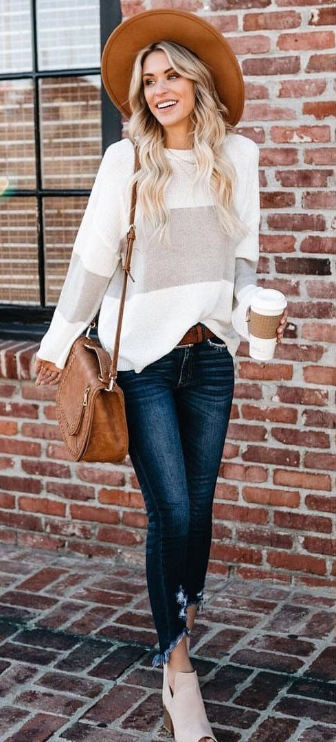 white and gray long-sleeved shirt and brown hat #spring #outfits