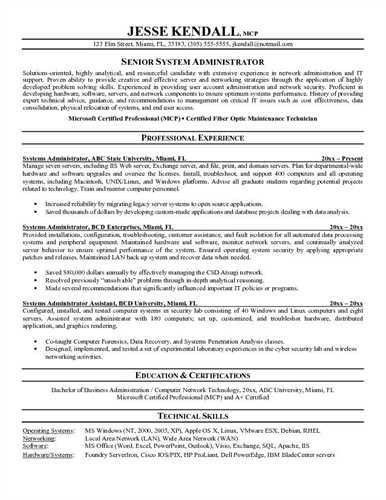System Administrator Resume Sample Systems Administrator Resume