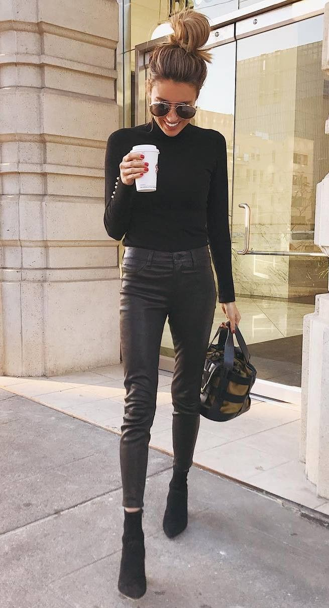 cute fall outfit idea : high neck top leather pants bag boots