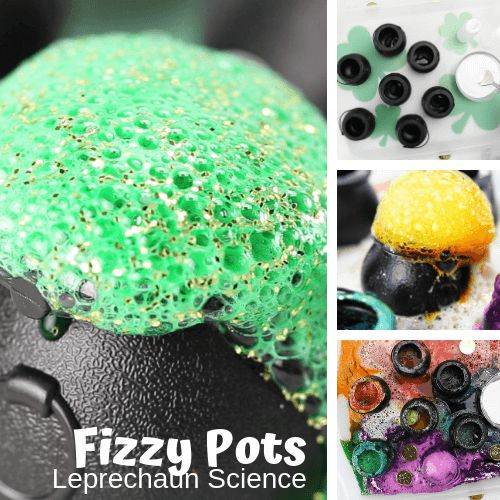 Every little leprechaun needs a black pot! Try our St Patrick's Day fizzing science activity with your little leprechauns this month. We love fizzing science activities and experiments for any holiday, and this rainbow fizzing baking soda activity is perfect for easy to set up and inexpensive St Patrick's Day science activities! ST PATRICK'S DAY FIZZY POTS SCIENCE ACTIVITY!  BAKING SODA AND VINEGAR EXPERIMENTS Get ready to add this simple baking soda and vinegar experiment to your St Patrick's