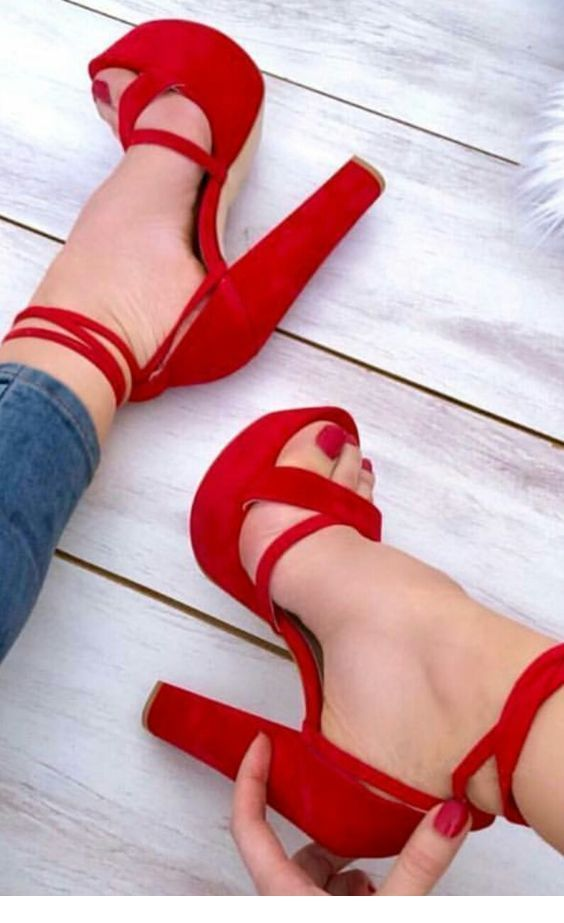 Awesome red high heels with jeans