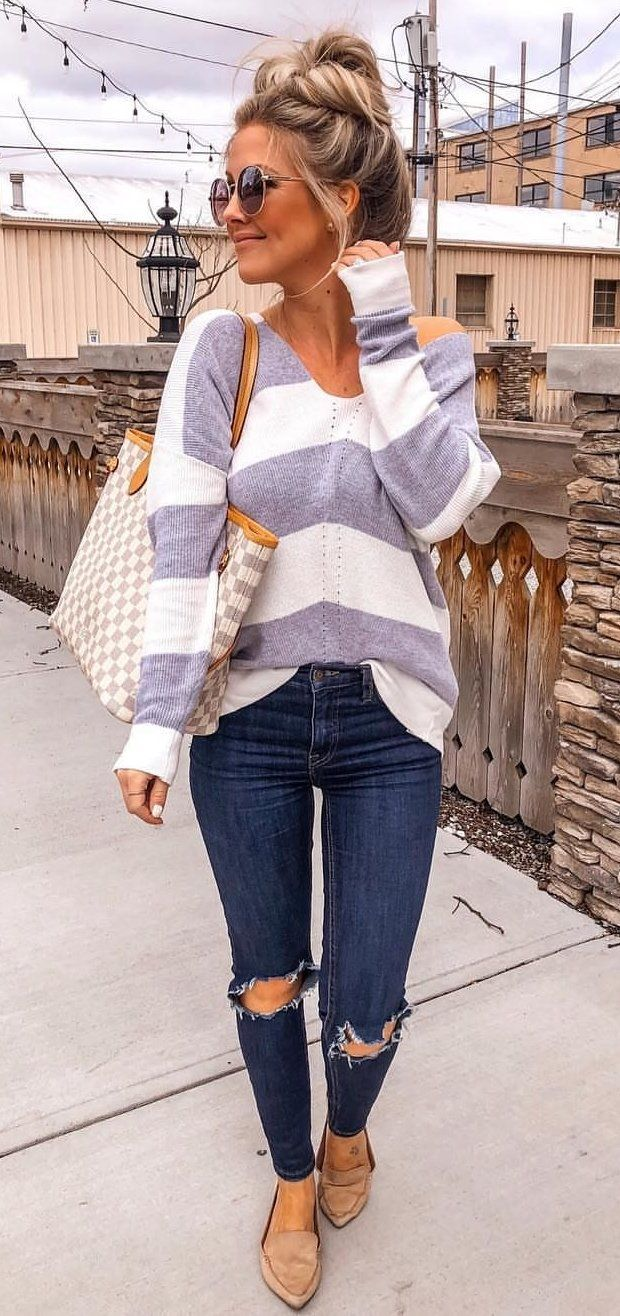 white and gray striped sweater #spring #outfits