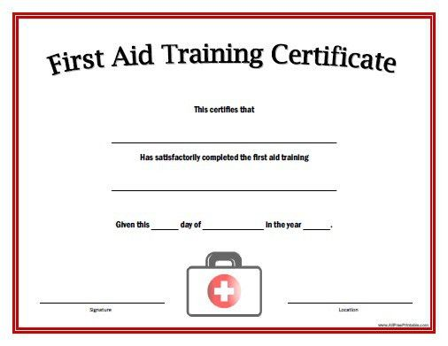 First Aid Certificate Template First Aid Training Certificate - free training certificates