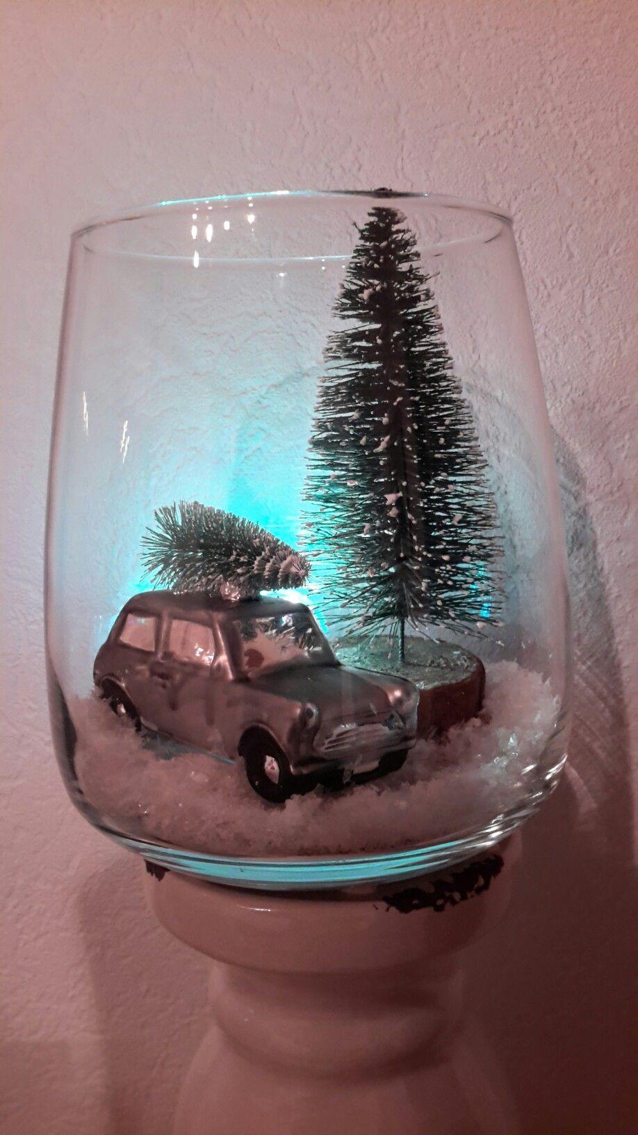 Deko Auto im Glas Deco glass, Weihnachtsdekoration im
