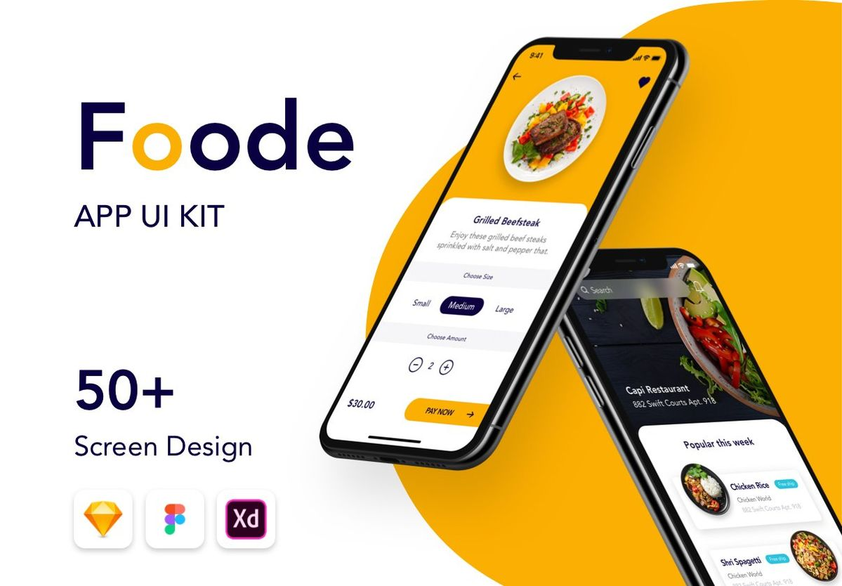 Foode - Best Food Order Mobile App 3 by Capi Creative on @creativemarket