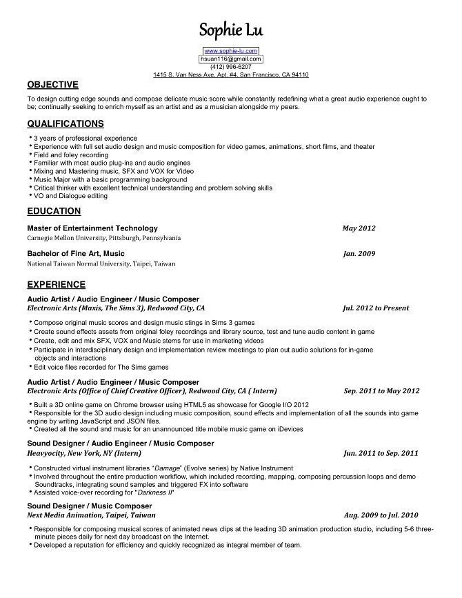 Famous Recording Engineer Resume Pictures Inspiration   Resume .  Audio Engineer Resume