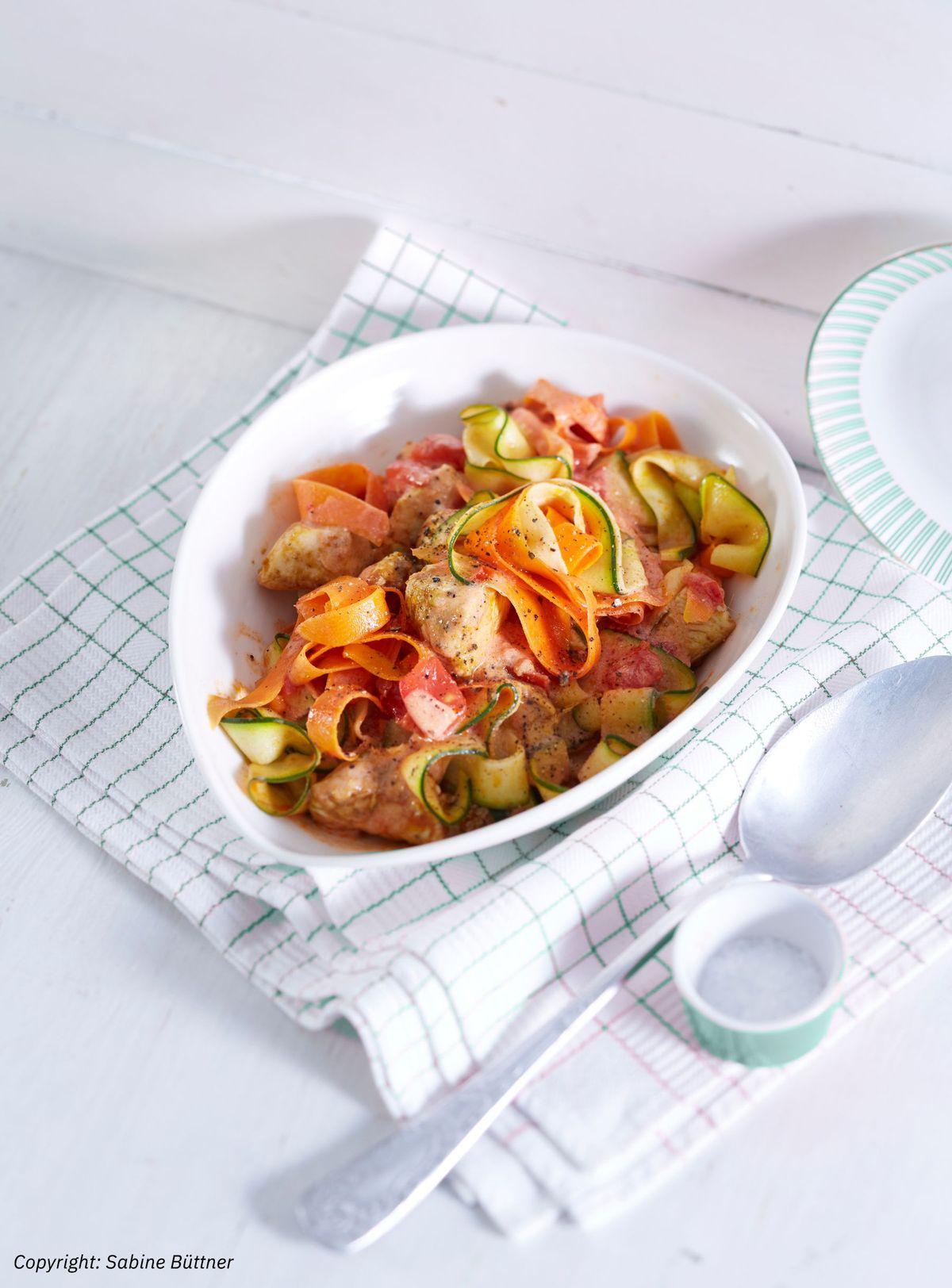 Zucchini-Karotten-Bandnudeln mit Hähnchen und Tomate von isa-baerchen   Chefkoch