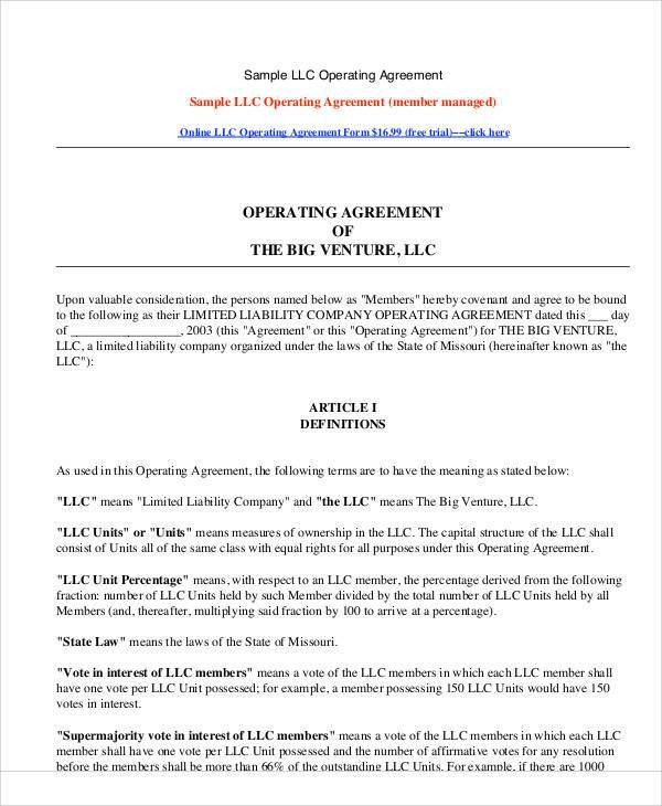 Llc operating agreement sample template - business operating agreement
