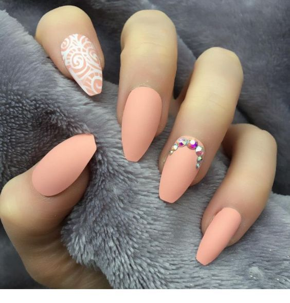 Nice matte light orange nails
