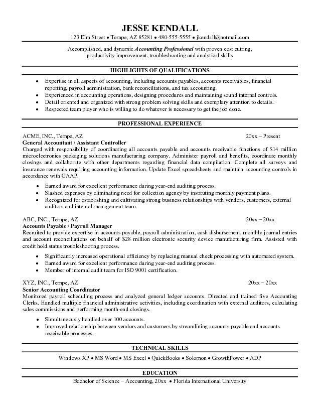 Objective Accounting Resume Accounting Resume Objective Resume