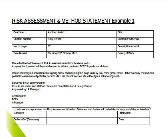 method of statement sample – Method of Statement Sample