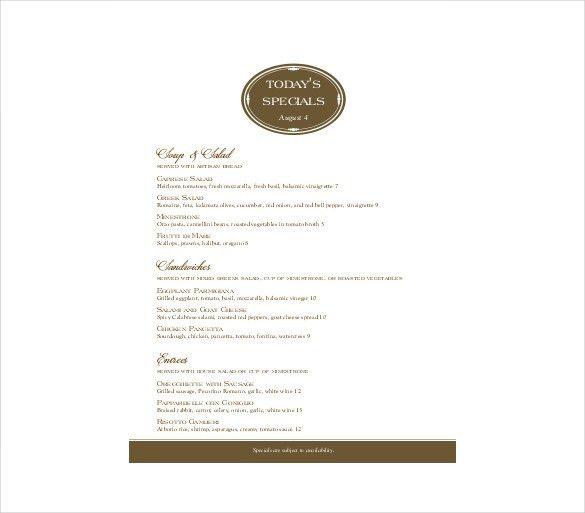 Ms Word Menu Template ms word menu template menu templates free - free restaurant menu template word
