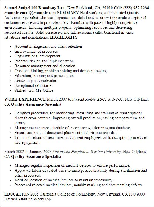 quality assurance resume unforgettable quality assurance resume