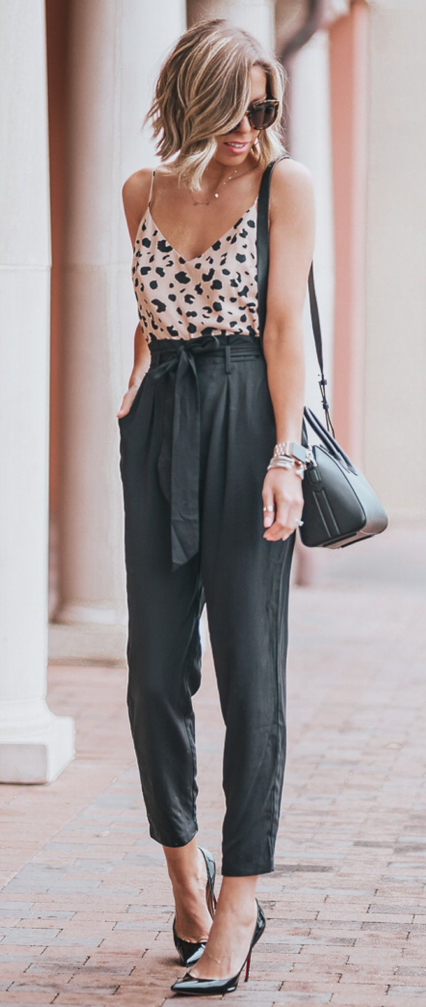 brown and black spaghetti-strap tank top and black pants outfit #spring #outfits