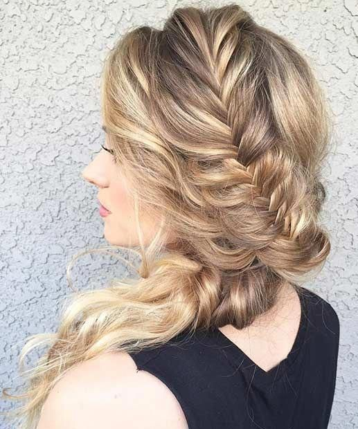 """Fishtail Braid to the Side Prom Hair <a class=""""pintag"""" href=""""/explore/Weddinghairstyles/"""" title=""""#Weddinghairstyles explore Pinterest"""">#Weddinghairstyles</a><p><a href=""""http://www.homeinteriordesign.org/2018/02/short-guide-to-interior-decoration.html"""">Short guide to interior decoration</a></p>"""