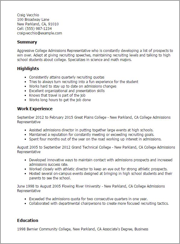 College Admission Resume Template 10 College Resume Templates