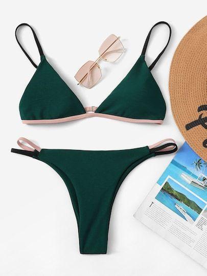 Triangle top with contrast piping and thong bikini [swimwear181205638] – 22,00 USD: Mo … – Swim Surf❤Bikini Fun – #Bikini #Contrast #Fun #Mo #Piping #SurfBikini #Swim #swimwear181205638 #thong #Top #Triangle #USD