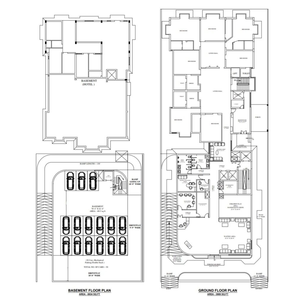 Basement And Ground Floor Plan Of Hotel 5star 3star Hotel Planning Architecturalplanning Plan Ground Floor Plan Hotel Plan Floor Plans