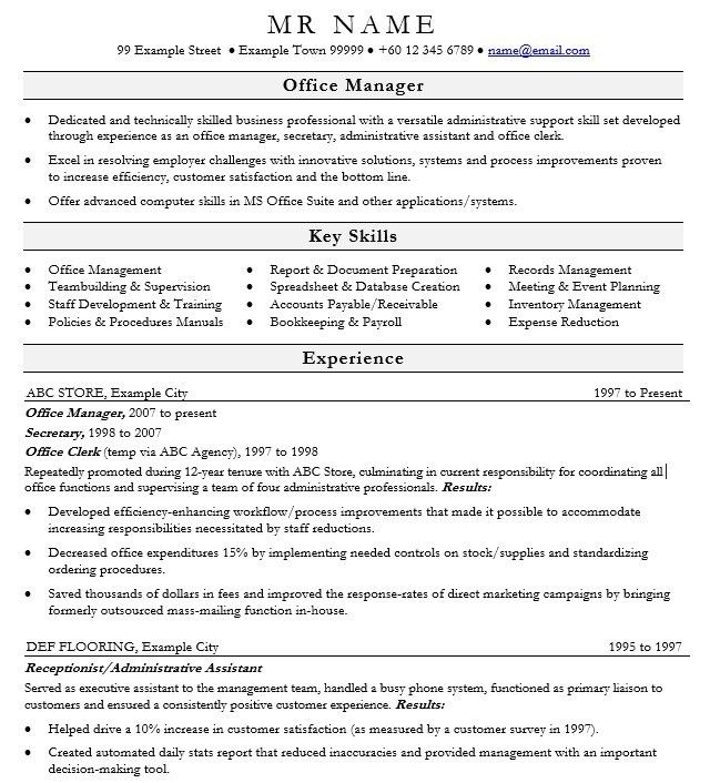 resume for office manager