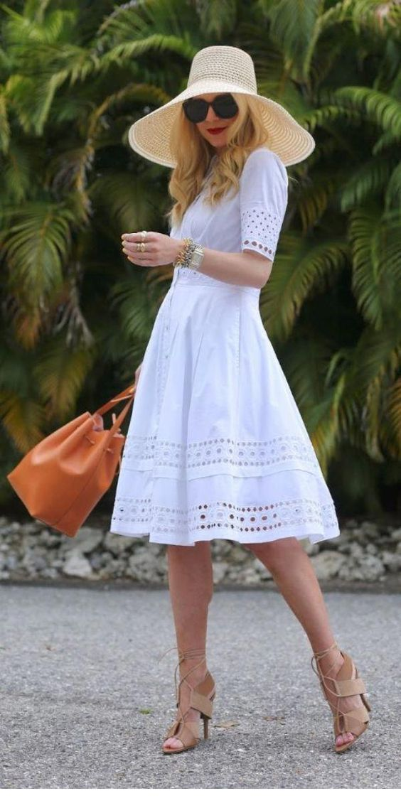 White retro dress and look