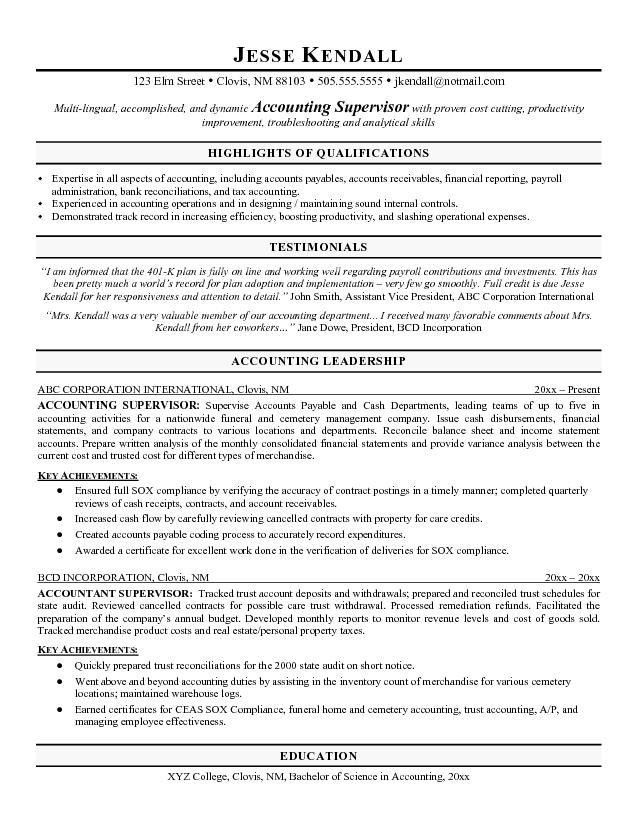 Sample Accounting Resume Objective Property Accountant Resume