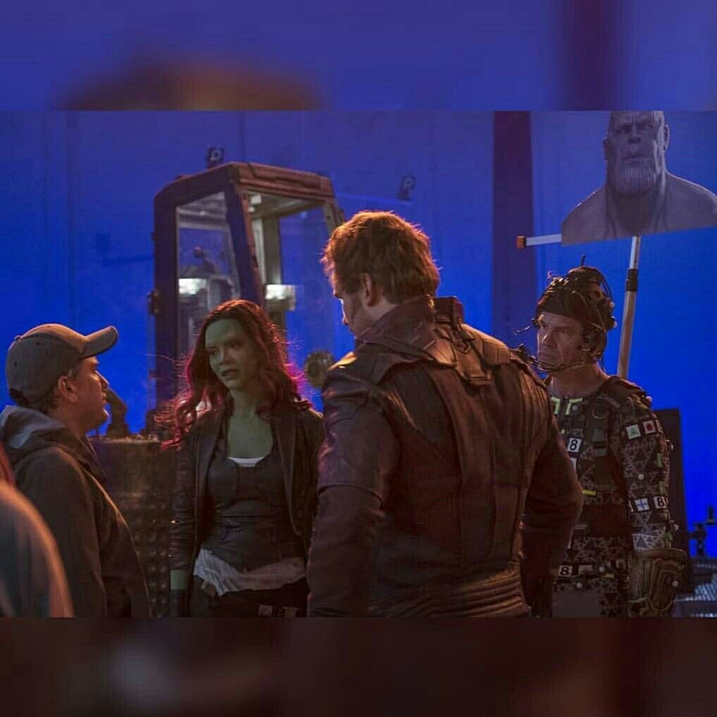 Infinity War Bts Gamora Star Lord Zoe Saldana Chris Pratt Josh Brolin Joe Anthony Russo Marvel Actors Gamora Starlord And Gamora