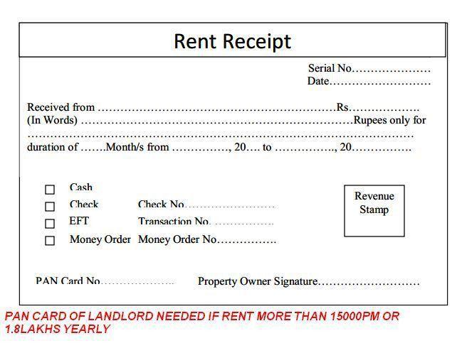rent receipt format word